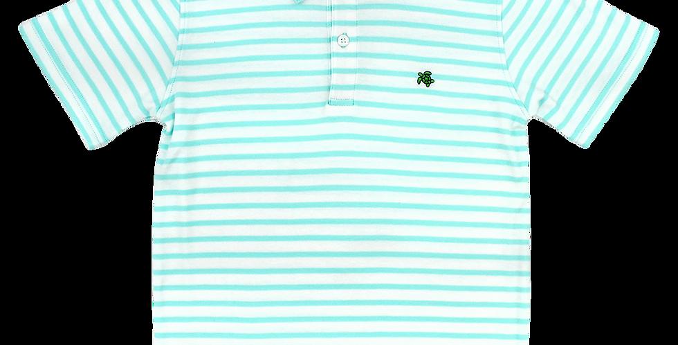 Henry Short Sleeve Stripe Polo- Seaglass/White