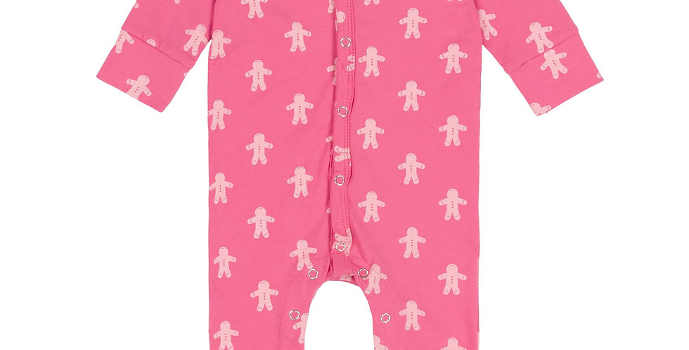 Organic PRINTED GINGERBREAD ONE-PIECE PAJAMA, BABY GIRL