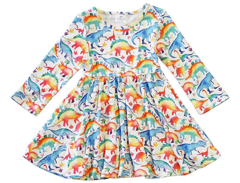 Dinosaur tie dye dress