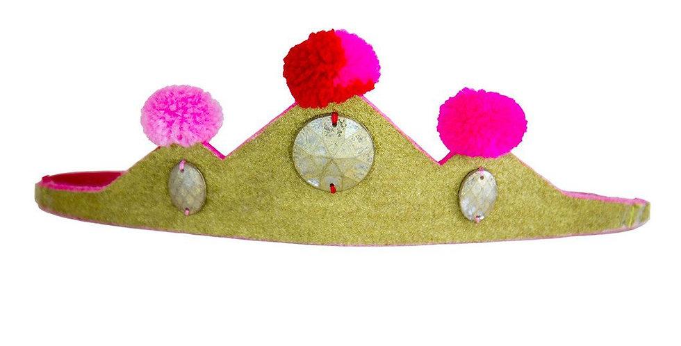 Gold Pom Pom Crown Headband
