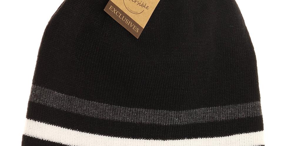 black reversible winter hat