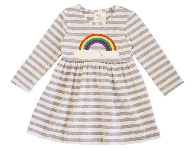 rainbow striped twirl dress