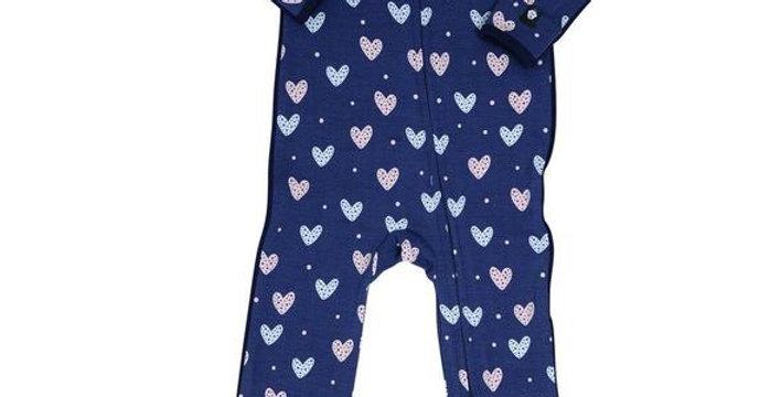 Blue hearts zipper footie