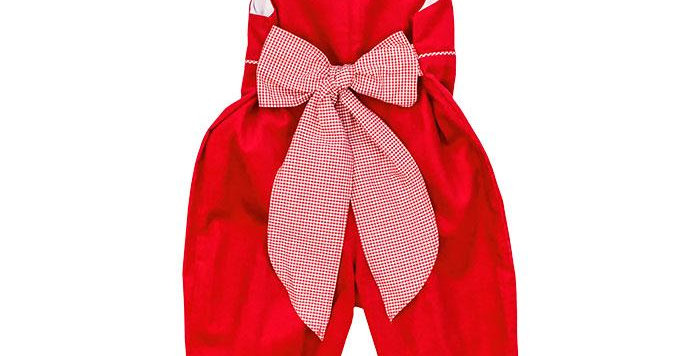 Red Cord Jumper w/Gingham Bow
