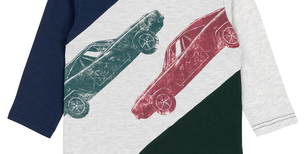 PRINTED CARS LONG SLEEVE T-SHIRT WITH INSERTS