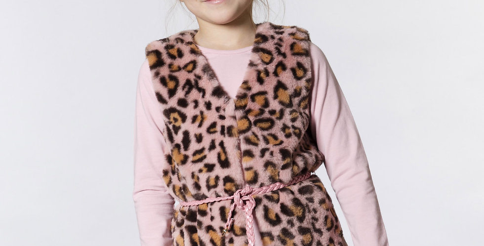 Leopard Pink Fur Vest