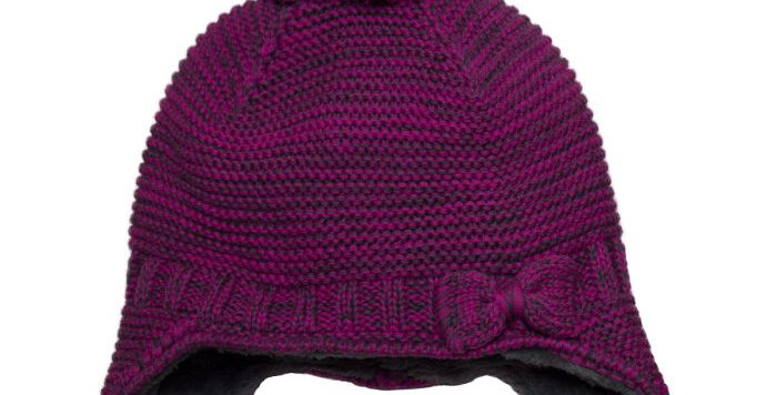 Cotton Knit Bow Hat pink