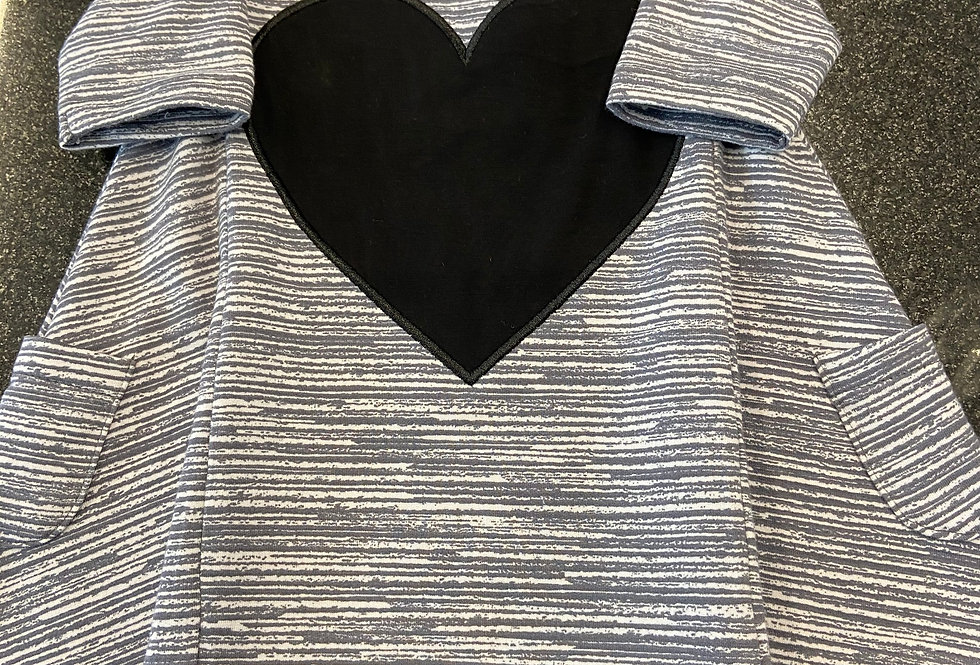 French Terry Dress (With Heart) - Charcoal Chalk Lines