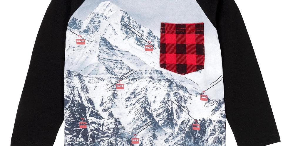 RAGLAN LONG-SLEEVE T-SHIRT WITH MOUNTAIN SCENE PRINT
