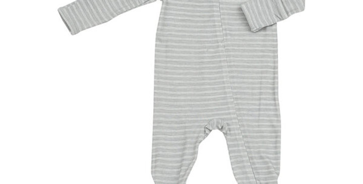 grey striped zipper footie