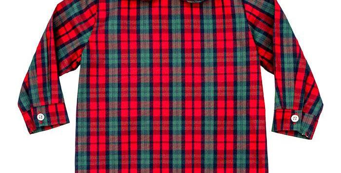 December plaid boys piped shirt