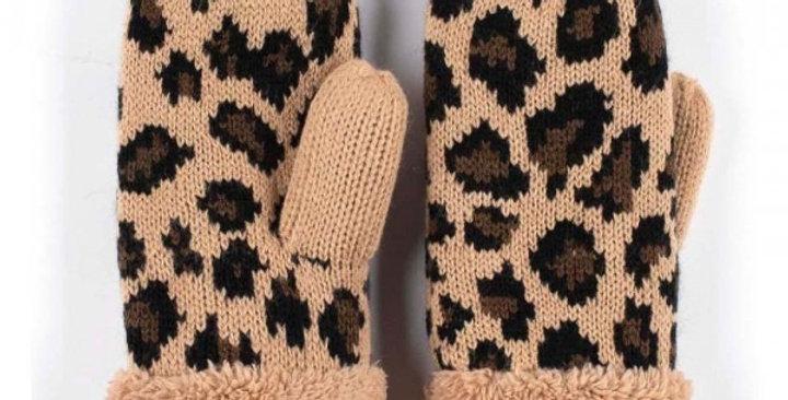 Leopard Print Mittens (camel)