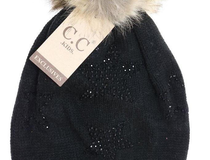 Black star knit hat