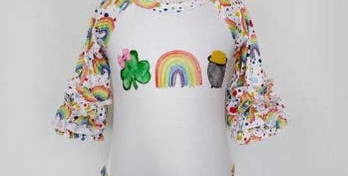 Ruffled rainbow onesie