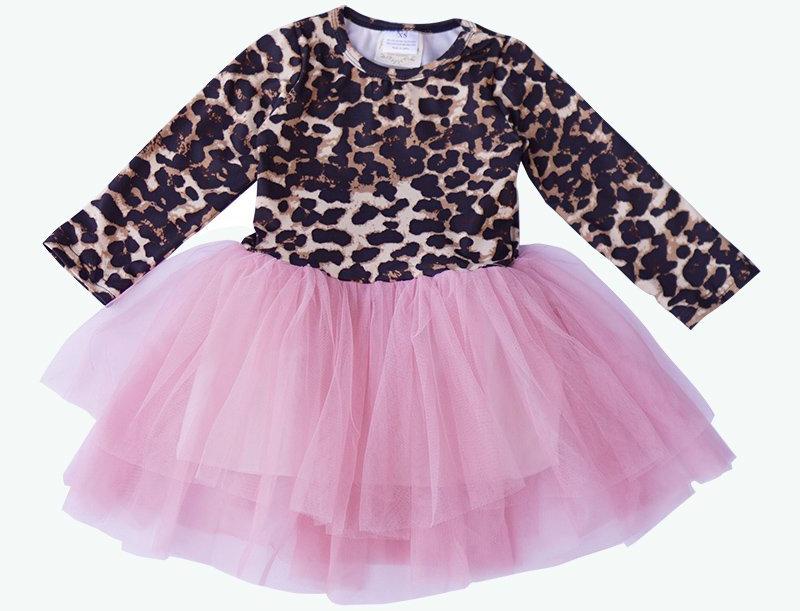 LEPOARD PINK TUTU TWIRL DRESS