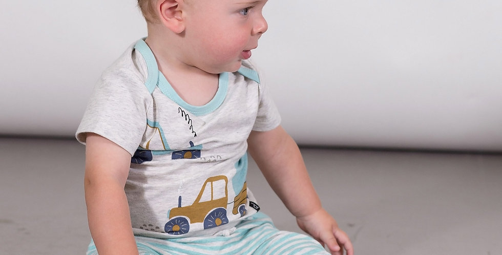 Organic printed top & striped pants set