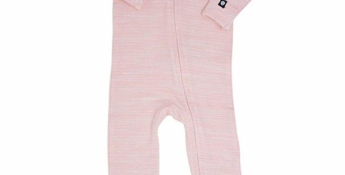Light pink chalkline zipper footie