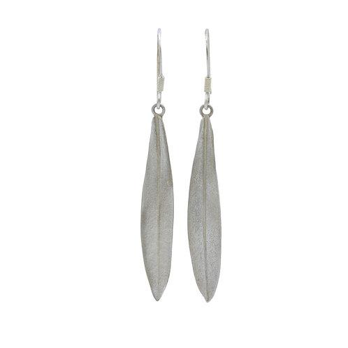 Fine Silver Olive Leaf Drop Earrings