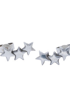 Fine Silver Three Star Climber Earrings
