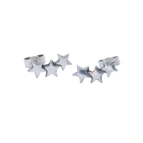Fine Silver Three Star Climber Earrings