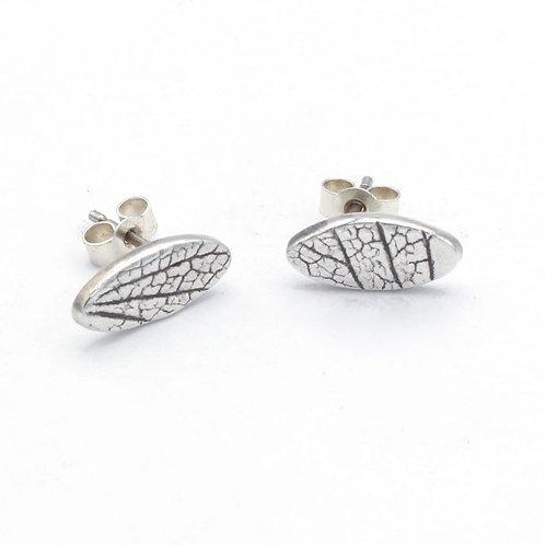 Fine Silver Oval Leaf Skeleton Stud Earrings