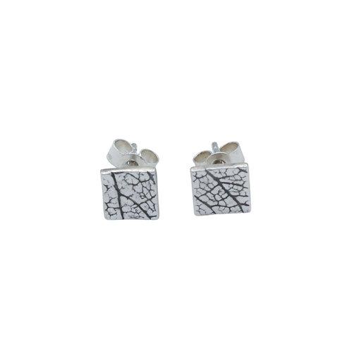 Square Leaf Skeleton Stud Earrings