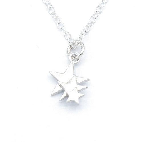 Fine Silver Three Star Pendant with Chain