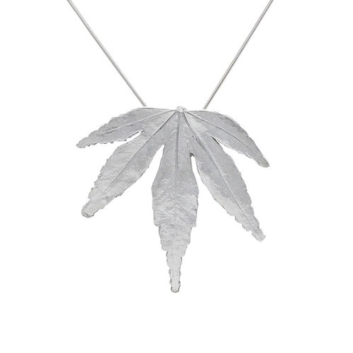 Fine Silver Japanese Acer Pendant and Necklace