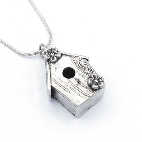 Fine Silver Bird House Pendant with Necklace