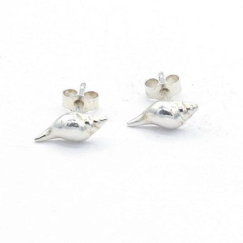 Fine Silver Long Silver Shell Stud Earrings