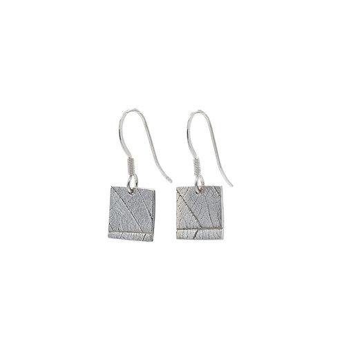 Square Leaf Imprint Drop Earrings