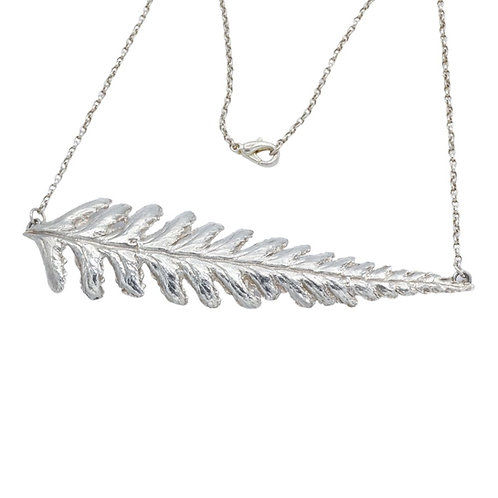 Fine Silver Fern Necklace on belcher chain