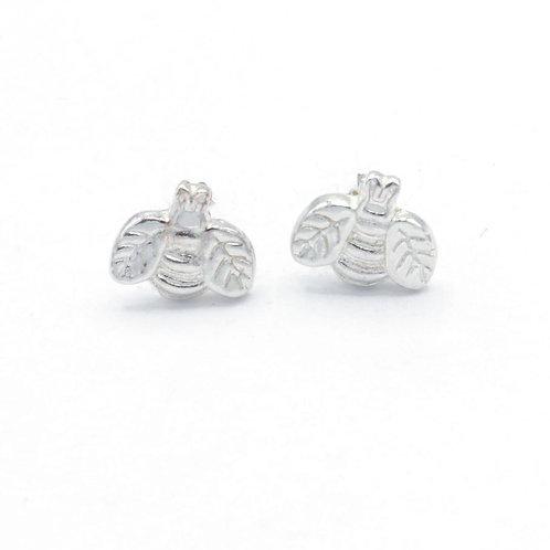 Fine Silver Bee Stud Earrings