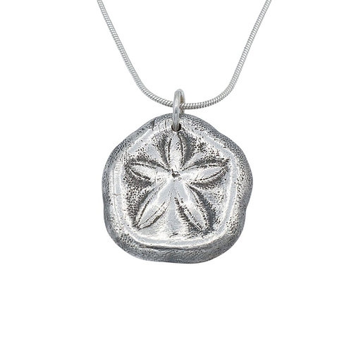 Sand Dollar Fine Silver Pendant and Chain