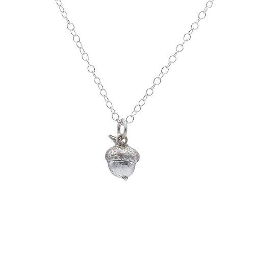 Silver Acorn Half Pendant