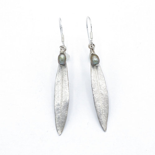Fine Silver Olive Leaf and Pearl Drop Earrings