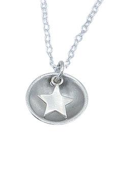 Fine Silver Star Dome Pendant and Chain