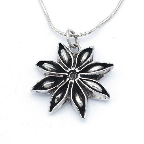 Fine Silver Star Anise Pendant