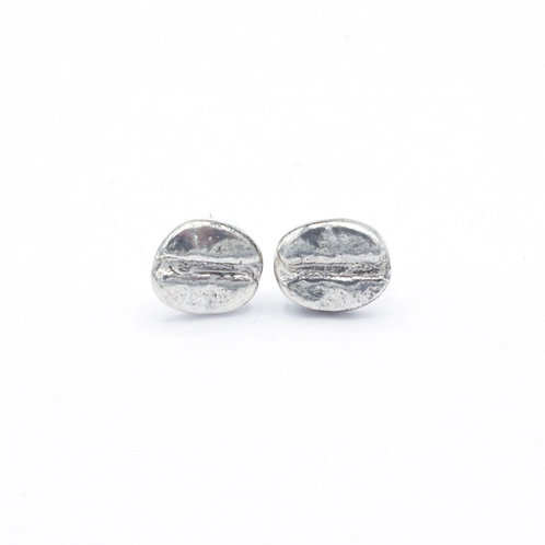 Fine Silver Coffee Bean Stud Earrings