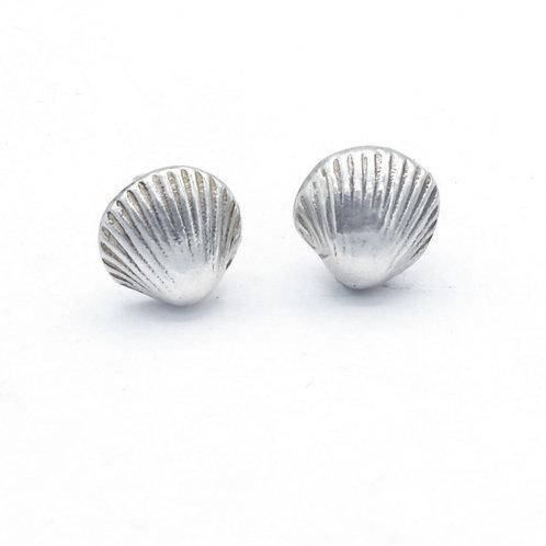 Fine Silver Cockle Shell Stud Earrings