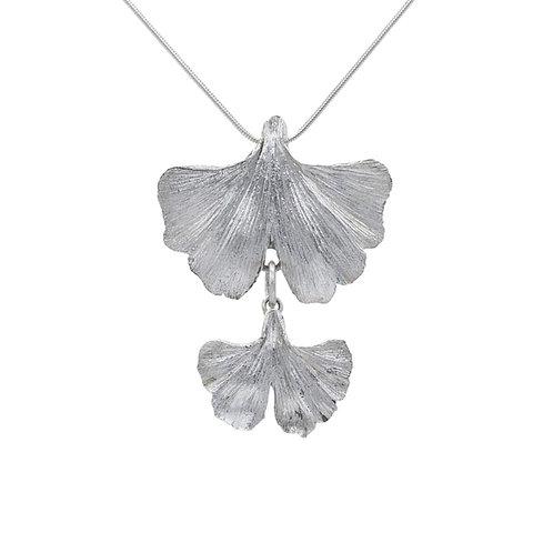 Double Gingko Leaf Fine Silver Pendant