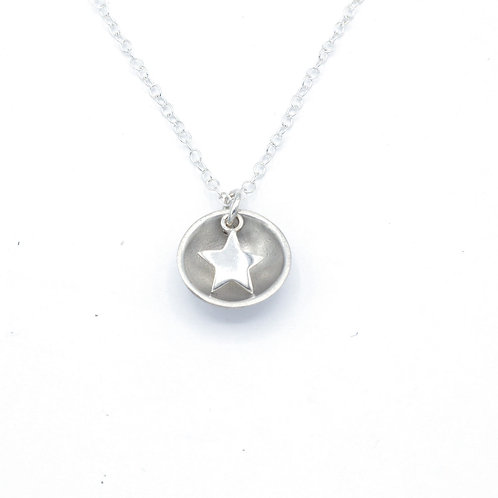 Fine Silver Star Dome Pendant and Chain