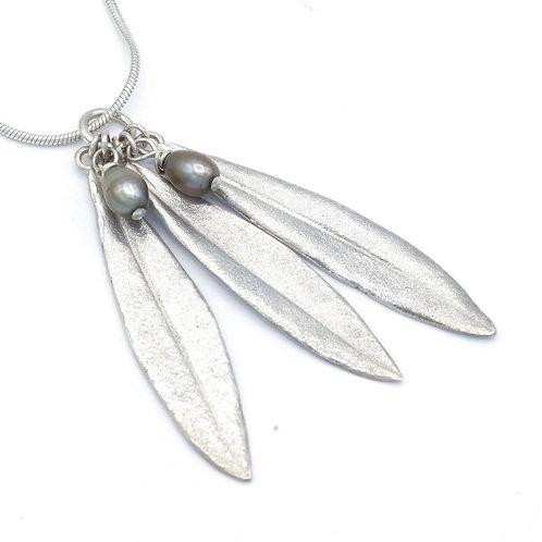 Three Olive Leaf and Pearl Pendant