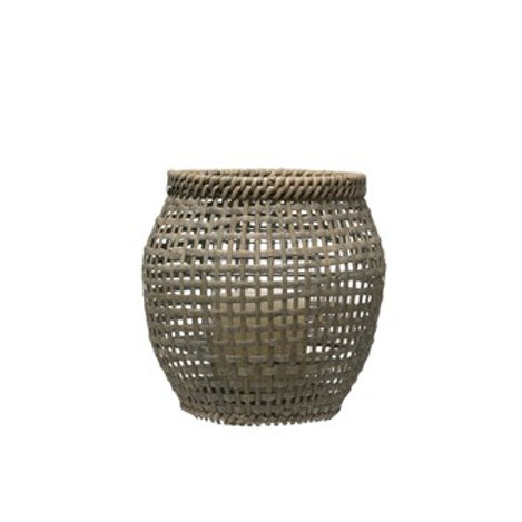Gray Washed & Woven Rattan Lantern