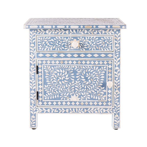 Large Floral Bone Inlay Bedside Table