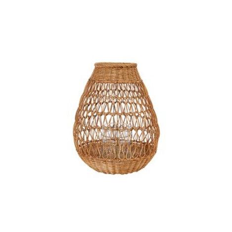 Hand-Woven Rattan Lantern w/ Glass Insert
