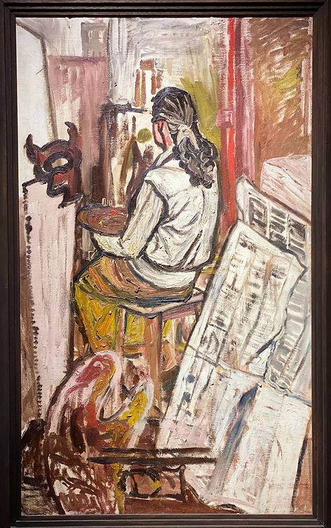 A Woman Painting in a Studio - John Bratby