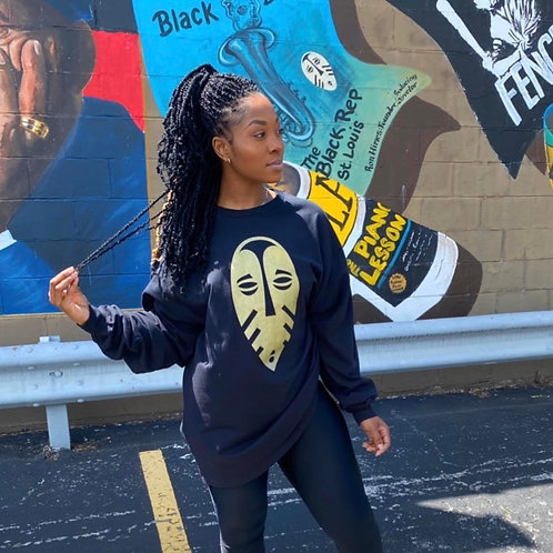 The Black Rep Gold Mask Long Sleeve T-Shirt