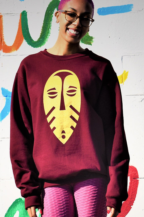 The Black Rep Burgundy and Gold Long Sleeve Sweat Shirt