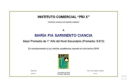 SARMIENTO CIANCIA, María Pía. MEJOR PROM